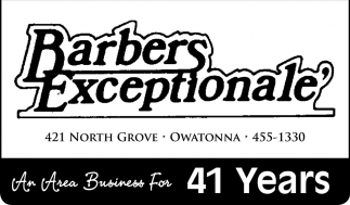 An Area Business For 41 Years, Barbers Exceptionale, Owatonna, MN