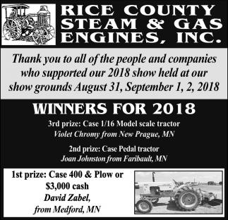 Winners For 2018
