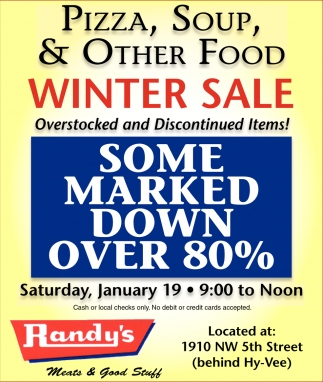 Pizza, Soup & Other Food Winter Sale, Randy's Meats, Faribault, MN