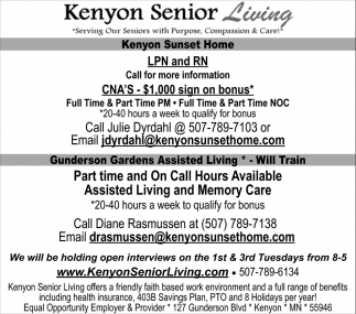 LPN and RN, Kenyon Senior Living, Kenyon, MN