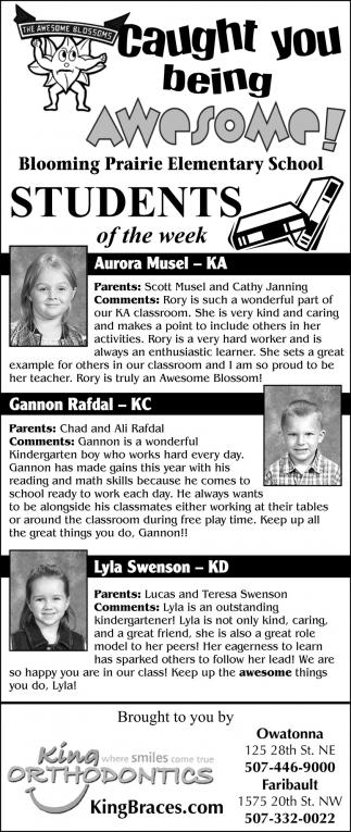 Blooming Prairie Elementary School Students of the Week
