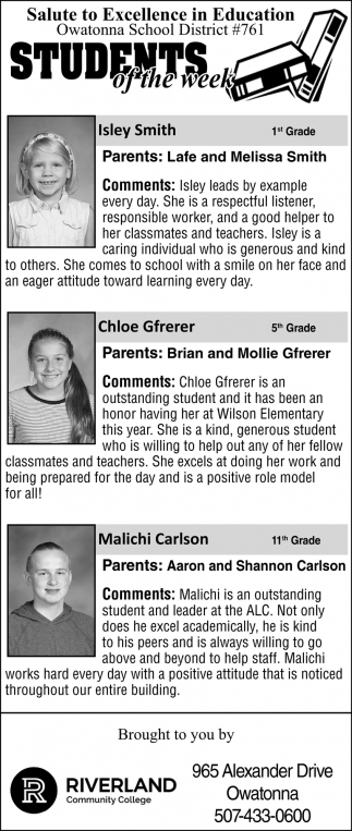 Owatonna School District #761 Students of the Week