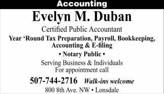 Accounting, Evelyn M. Duban, Lonsdale, MN