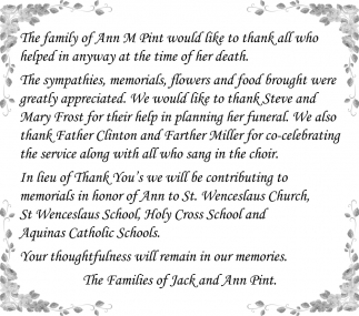 The Families of Jack and Ann Pint, Thank You - Lonsdale Area News Review, Lonsdale, MN