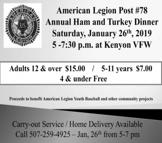 Annual Ham and Turkey Dinner, American Legion Post 78 - Kenyon, Kenyon, MN