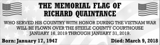 Memorial Flag of Richard Quaintance