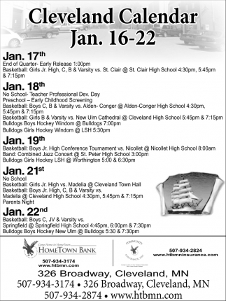 Cleveland Calendar Jan. 16-22