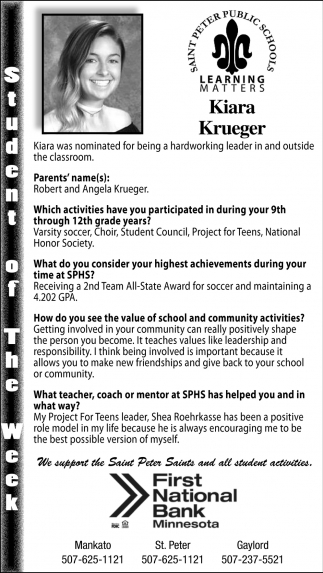 Student of the Week, Saint Peter Public School, Saint Peter, MN