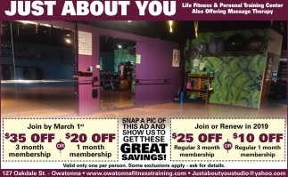 Life Fitness & Personal Training Center, Just About You