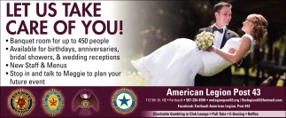 Let Us Take Care Of You!, American Legion Post 43 - Faribault, Faribault, MN