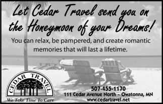 Let Cedar Travel Send You On The Honeymoon Of Your Dreams!