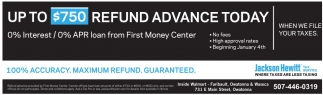 Up to $750 refund advance today!