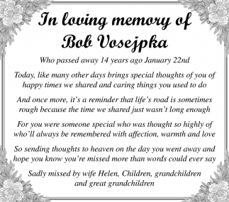 Bob Vosepka, In Memory - Lonsdale Area News Review, Lonsdale, MN