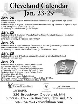 Cleveland Calendar Jan. 23 -29