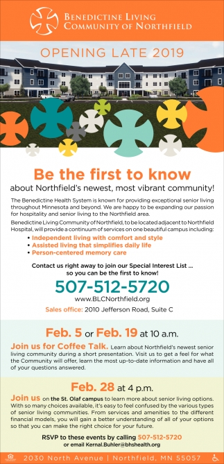 Be The First To Know About Northfield's Newest Community!, Benedictine Living Community of Northfield, Northfield, MN