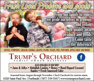 Fresh Local Produce and Goods, Trump's Orchard, Faribault, MN
