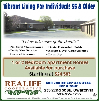 Vibrant Living For Individuals 55 Older Realife Cooperative