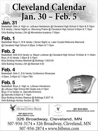 Cleveland Calendar Jan. 30 - Feb. 5