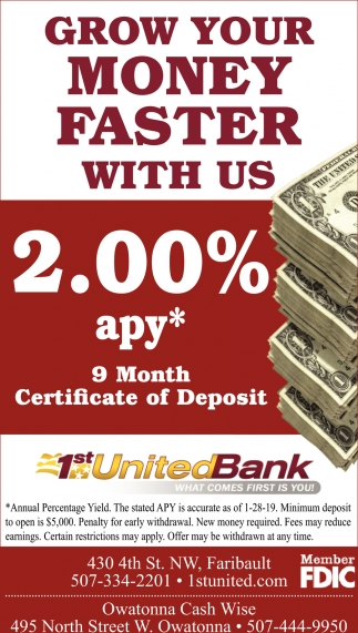 Grow your money faster with us 2.00% apy*