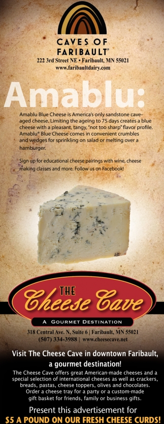 Amablu Blue Cheese, Caves of Faribault, Faribault, MN
