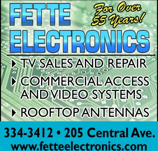 TV sales and repair, computer repair, security systems, Fette Electronics, Faribault, MN