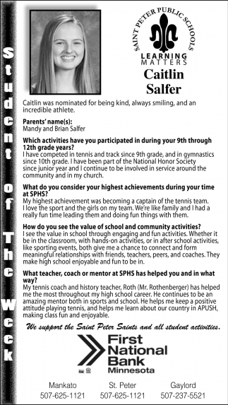 Caitlin Salfer - Student of the Week
