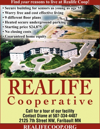 Find your reasons to live at Realife Coop, Realife Cooperative - Faribault, Faribault, MN
