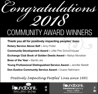 Congratulations 2018 Community Award Winners