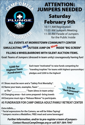 Jumpers Needed - February 9th, Camp Omega, Waterville, MN