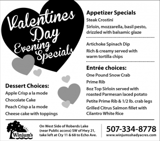 Valentines Day Evening Specials