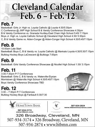 Cleveland Calendar Feb. 6 - Feb. 12
