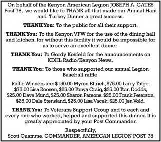Thank you, American Legion Post 78 - Kenyon, Kenyon, MN