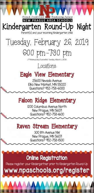 Kindergarten Round-Up Night Feb 26, New Prague Area Schools, New Prague, MN