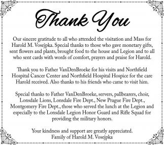 The Family of Harold M. Vosejpka, Thank You - Lonsdale Area News Review, Lonsdale, MN