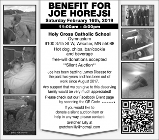 Benefit for Joe Horejsi, February 16th, Holy Cross Catholic School , Webster, MN