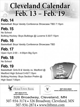 Cleveland Calendar Feb. 13 - Feb. 19