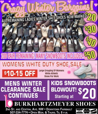 All Remaining Ladies Winter Sale Shoes Now Marked, Burkhartzmeyer Shoes, Faribault, MN