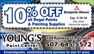 10% Off all Regal Paints & Painting Supplies