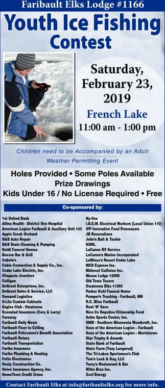 Youth Ice Fishing Contest February 23, Faribault Elks Lodge