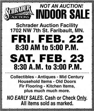 Not an Auction! - Indoor Sale!