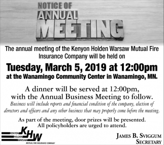 Notice of Annual Meeting - March 5, Kenyon Holden Warsaw Mutual Fire Insurance Company, Wanamingo, MN