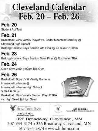 Cleveland Calendar Feb. 20 - Feb. 26