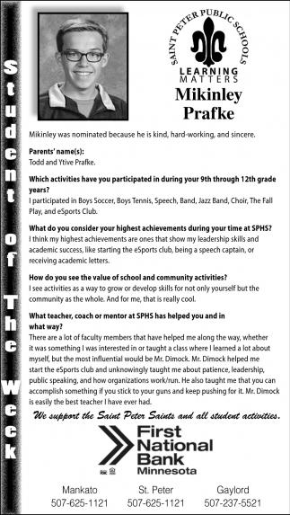 Mikinley Prafke - Student of the Week