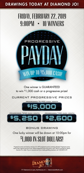 Progressive Payday - Win Up to $15,000 Cash!