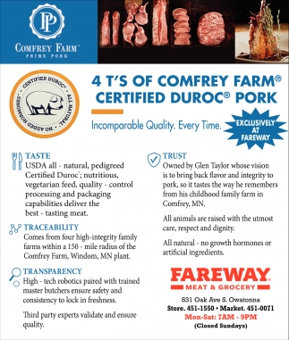4 T'S of Comfrey Farm - Certified Duroc Pork