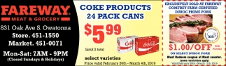 Coke products 24 pack cans $5.99