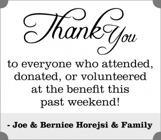 Joe & Bernice Horejsi & Family, Thank You - Lonsdale Area News Review, Lonsdale, MN