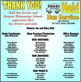 Held Bus Service and Kenyon Wanamingo Schools appreciate their bus drivers and aides, Held Bus Service, Kenyon, MN