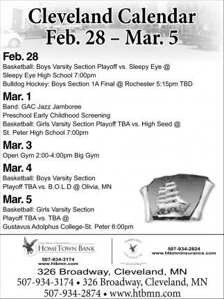 Cleveland Calendar Feb. 28 - Mar. 5