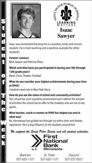 Isaac Sawyer - Student of the Week